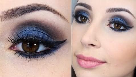 Maquiagem Preta e Azul