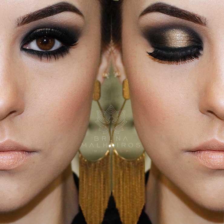Maquiagem Preta e Dourada