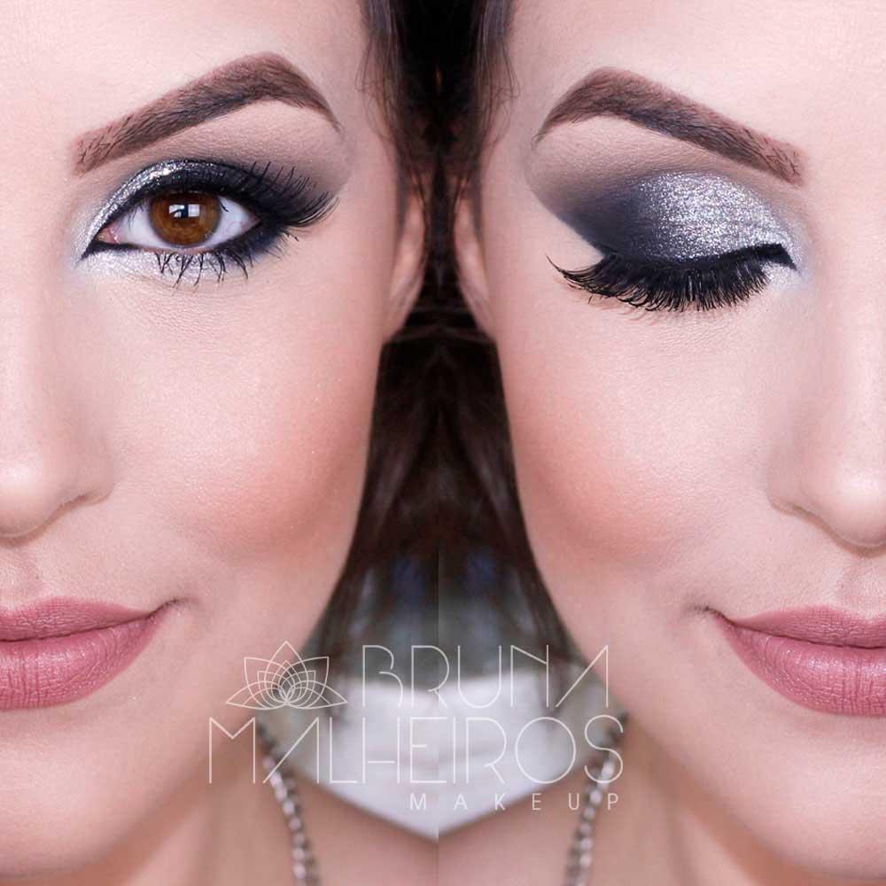 Maquiagem Preta e Prata